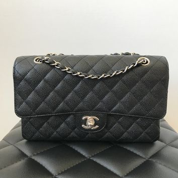 Chanel Black Caviar Medium/Large SHW Double Flap Bag