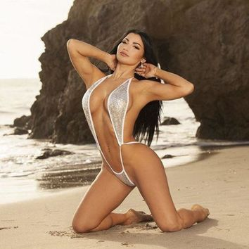 ef89e1fc82 One-Piece Sequin Thong Swimwear Swimsuit Sexy Backless Bodysuit