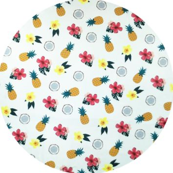 Summer Fruits Pineapple Floral Print Round Beach Blanket Towel