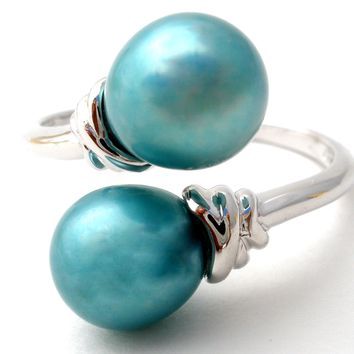 Honora Blue Pearl Ring Sterling Silver Size 10