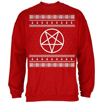 White Satanic Pentagram Ugly Christmas Sweater Red Adult Sweatshirt