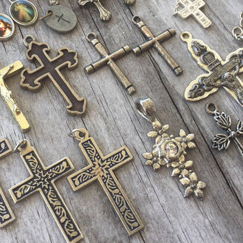 RELIGIOUS CROSS Lot Vintage and RESCUED Cross, Crucifix, charms and pendants (26 pcs) Silver Antique Brass