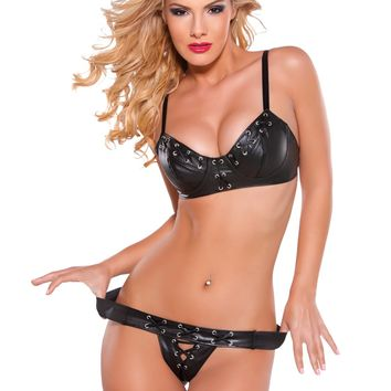 Perforated Faux Leather Laced Bra & G-String Set