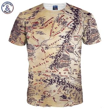 Mr.1991INC Hot Sell Men/Women 3d T-shirt Retro Print The Middle Earth World Map Brand Tshirts Summer Tops Tees Quick Dry