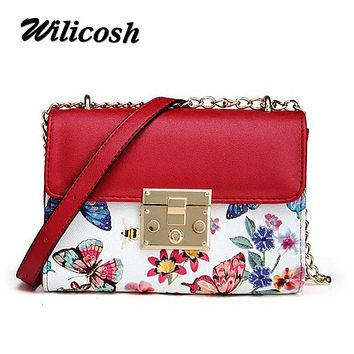 Wilicosh Hot PU Leather women's shoulder messenger bags ladies Lock Design Women Crossbody Bag with Chain Small Summer Bag WL610