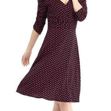 Polka Dot Dress - Knee Length / Fit and Flare / Short Sleeve