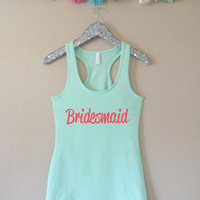 Bride Tank Top, Bridesmaid Tank Top, Maid of Honor Tank Top, Mint Tank Top, Bachelorette Party Tank Tops, Bridesmaid Gifts, Mint, Bridesmaid