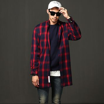 Mens Mandarin Collar Plaid Overlong Shirt at Fabrixquare