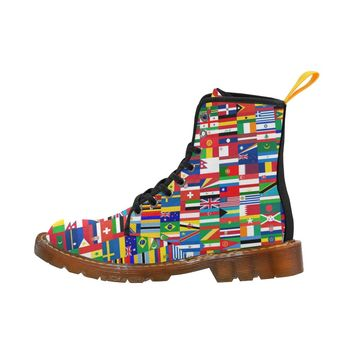 World Country Flags Lace Up Martin Boots for Women