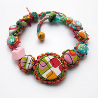 Colorful chunky necklace, Statement crochet and textile jewelry, Retro fabric necklace, OOAK
