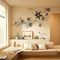 beautiful Ivy Curly flower vine TV set background home Art Decals Wall Sticker Vinyl Wall Decal stickers living room bed sofa 329