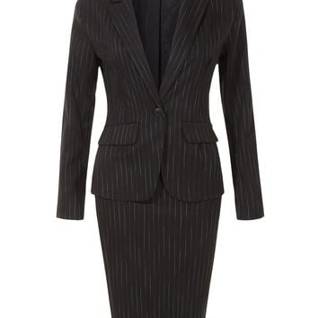 LE3NO Womens Fitted Single Button Striped Blazer and Knit Pencil Skirt Suit Set
