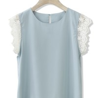 Breezy Chiffon Blue Top with Crochet Trim