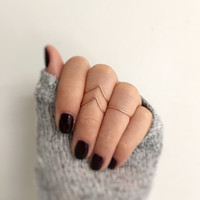 Rose Gold Stacking Rings // Rose Gold knuckle ring set // Rose Gold Rings // Knuckle Ring set // Midi Rings // 3 Rose gold Rings // For Her