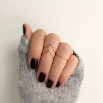 Trio Rose Gold midi Ring set,layering rings,Rose Gold knuckle rings,Midi Rings,stacking rings,fully adjustable,above the knuckle,dainty ring