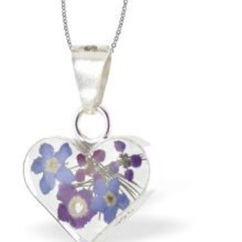Real Flower Heart Necklace with mix of Violets