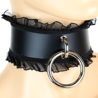 "1-3/4"" Wide Leather and Lace Sexy O Ring Choker Gothic Collar"