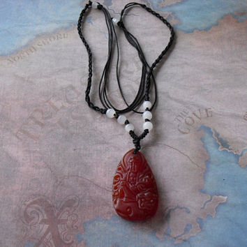 Beautiful Carved Red Jade Kwan-yin pendant