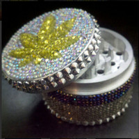ORIGINAL Rhinestone Art WEED LEAF Grinder by OnMyGrindAccessories