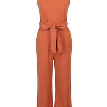 Orange Bowknot Detail Open Back Cropped Jumpsuit