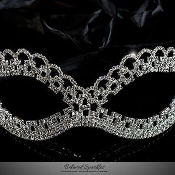 Lonie Swirl Cluster Masquerade Mask | Crystal | Silver