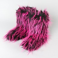 Fuzzy Pink and Black Boots  | Claire's
