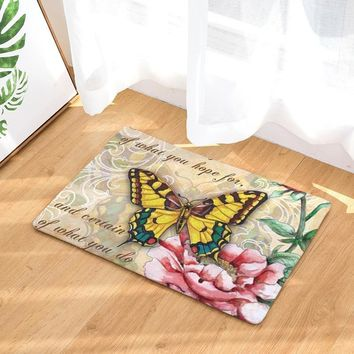 Autumn Fall welcome door mat doormat shipping New Design Colorful Butterfly Flannel  Floor  Carpets Rugs Kitchen Mat Door Rug AT_76_7