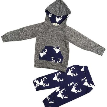 Boy Deer Sweater Hoodie set  Toddler Kids Baby Boy Girl Clothes Deer Hooded Tops Jacket +Pants Outfits Drop ship