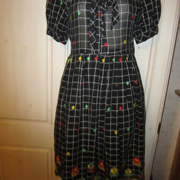 1960s Dress, Flower Power, Black Check,Hippie, California, Woodstock, Designer, Haight Ashbury SALE
