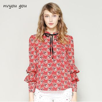 nvyou gou Spring Summer Elegant Long Sleeve Ruffle Layer Chiffon Blouse Women Vintage Floral Print Fashion Bow Tie Casual Shirt