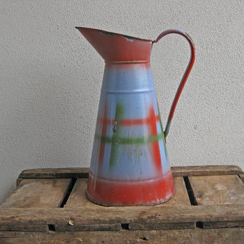 French enamel pitcher Art Deco jug in red and green plaid pattern