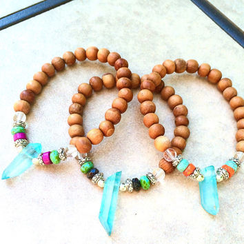 Genuine Sandalwood and Aqua Quartz Spiritual Bracelet-Stretch-Yoga-Namaste