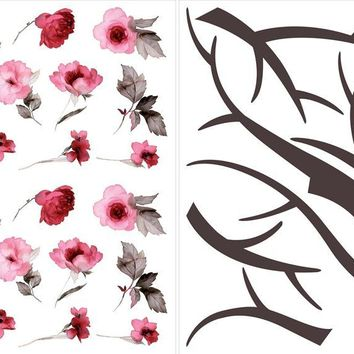 Brewster Wallpaper CR-81001 Cherry Blossom Branch Wall Decals
