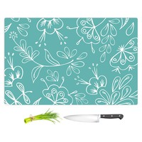 Cutting Boards from DiaNoche by Zara Martina Teal Flora Mix