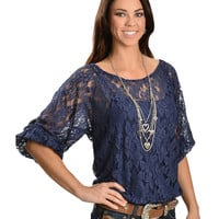 Ariat Lace Banded 3/4 Length Sleeve Top - Sheplers