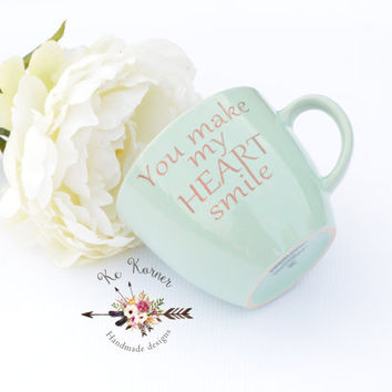 Inspirational engraved mug, You make my heart smile mint engraved mug, Engraved mug, Engraved coffee mug, Mother's day mug, Custom mug