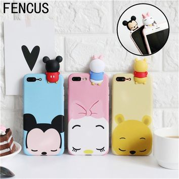 3D Cute Cartoon Mickey Minnie Soft Couple Covers For iPhone 7 7Plus 6s plus Tigger Daisy Donald Duck Phone Cases for iphone 6 6P