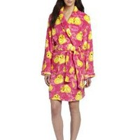 Seven Apparel Hotel Spa Collection Ladies Chic Printed Plush Bath Robes, Yellow Rubber Ducky