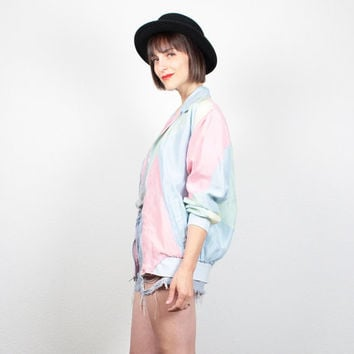 Vintage Bomber Jacket Silk Pastel Color Block Windbreaker 1980s Track Jacket Pink Blue Yellow Green 80s Sporty Wind Breaker S Small M Medium