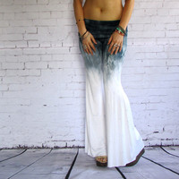 Black OMBRE Tie Dye Flares Hand Dyed Boho pants wide leg yoga style fashion cover up beach