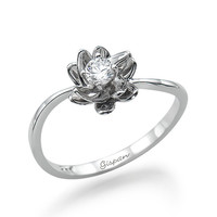 Flower Engagement Ring White Gold With conflict free diamond, Flower ring, Diamond Ring, Wedding Ring, promise ring