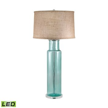 216B-LED Recycled Glass Cylinder LED Table Lamp In Blue