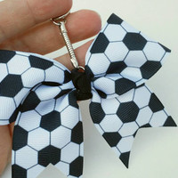 Mini soccer bow key chain, soccer purse charm, mini cheer bow key chain, soccer gift, key ring, sports gift, soccer mom, coach gift, futbol