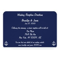 """Navy Blue Nautical Wedding Maps And Directions 3.5"""" X 5"""" Invitation Card"""