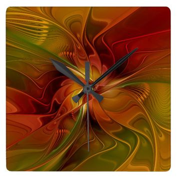 Warmth, Abstract Fractal Art Square Wall Clock