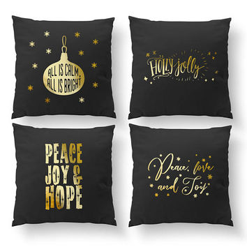 SET of 4 Pillows, All Is Calm, Holly Jolly, Cushion Cover, Bed Pillow, Xmas Gift, Throw Pillow, Gold Pillow, Christmas Pillow, Xmas Pillow