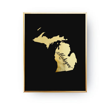 USA State Poster, Michigan State Map, Real Gold Foil Print, Michigan Print, Michigan State Print, Gold USA State, Michigan, Black Background