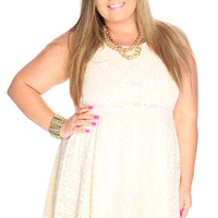 Sexy Ivory Crochet Overlay Sleeveless Casual Plus Size Dress