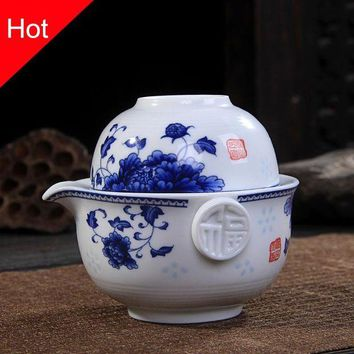 DCCKFS2 Ceramics Tea set Include 1 Pot 1 Cup, High quality elegant gaiwan,Beautiful and easy teapot kettle,kung fu teaset