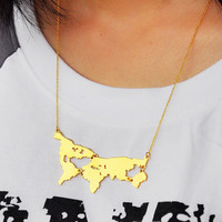 Gold World Map Necklace, Personalized World Continent Connected Necklace, Custom Any map, Statement Necklace,1 World in Memory Jewelry
